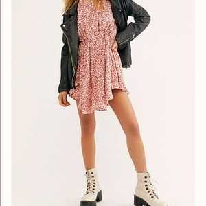 Free people red floral mini dress